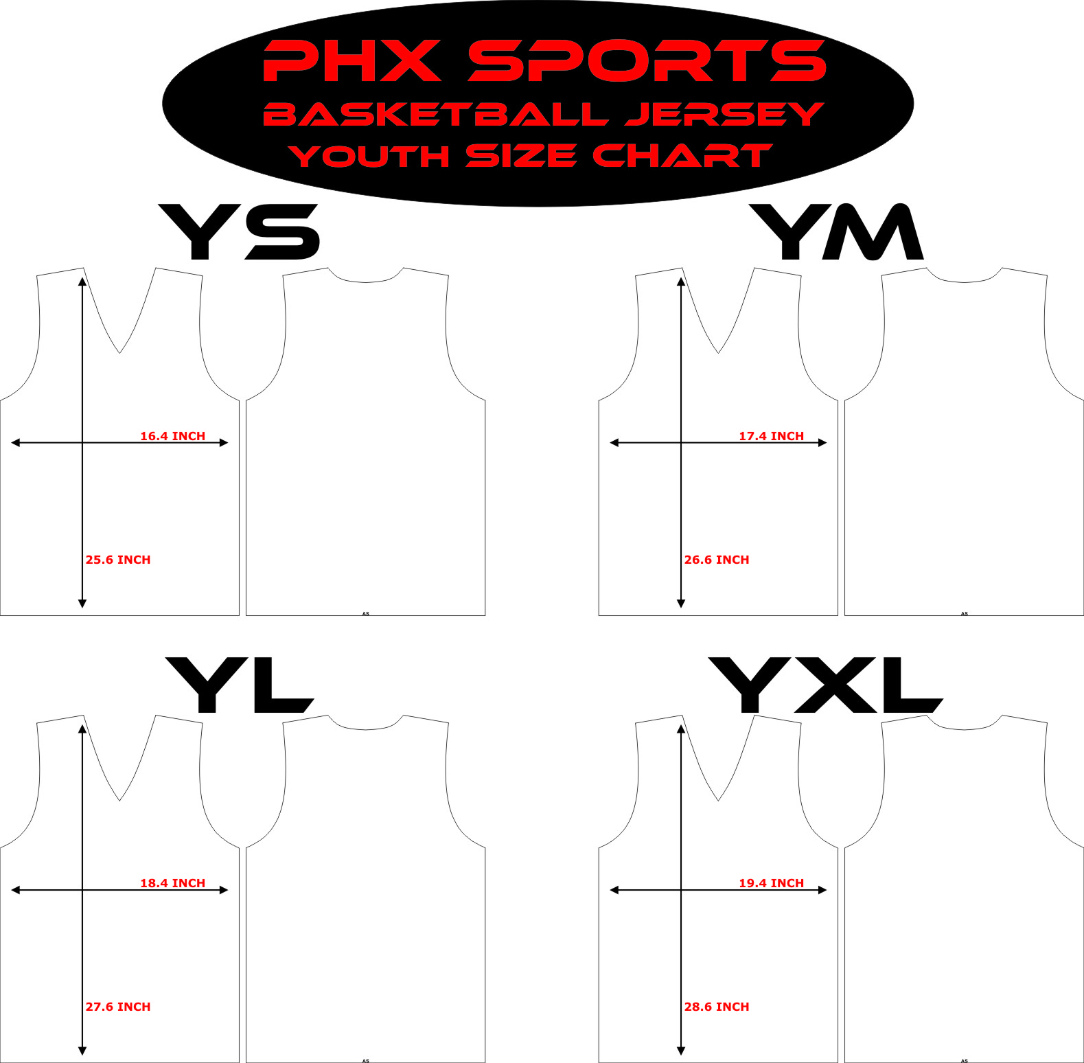 basketball size chart – phx sports apparel